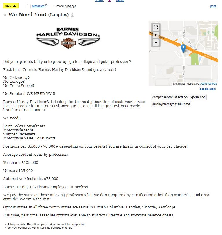 Outstanding ads on craigslist for motorcycles. - Page 328